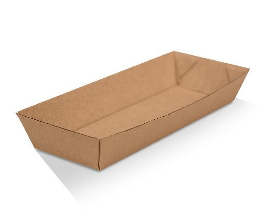 Hotdog Tray / Brown Corrugated Kraft / Plain