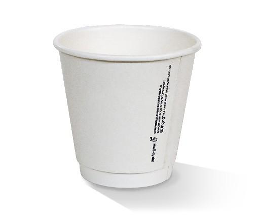 *8oz PLA coated Double Wall Cup /one-lid-fits-all