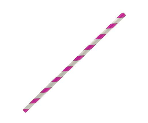 Paper Straw Regular - Pink stripe