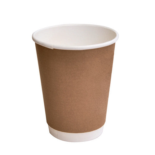 12oz PLA coated Double Wall Cup/ brown print