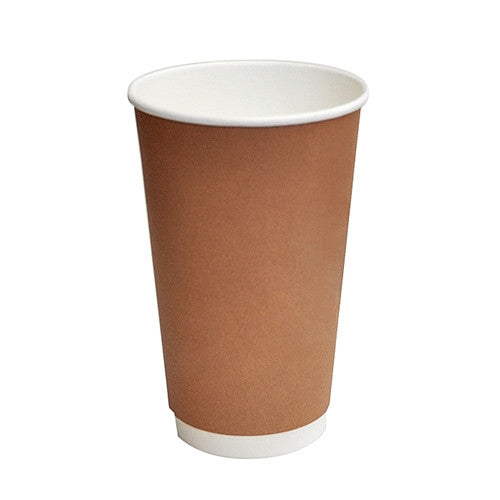 16oz PLA coated Double Wall Cup/ brown print
