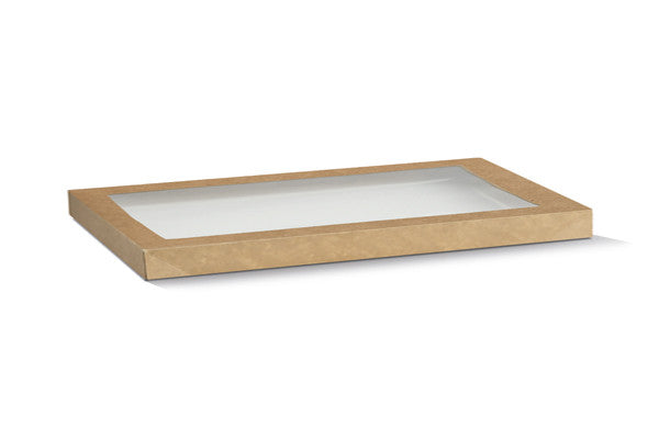 Kraft Catering Tray Lid Large-PLA Window