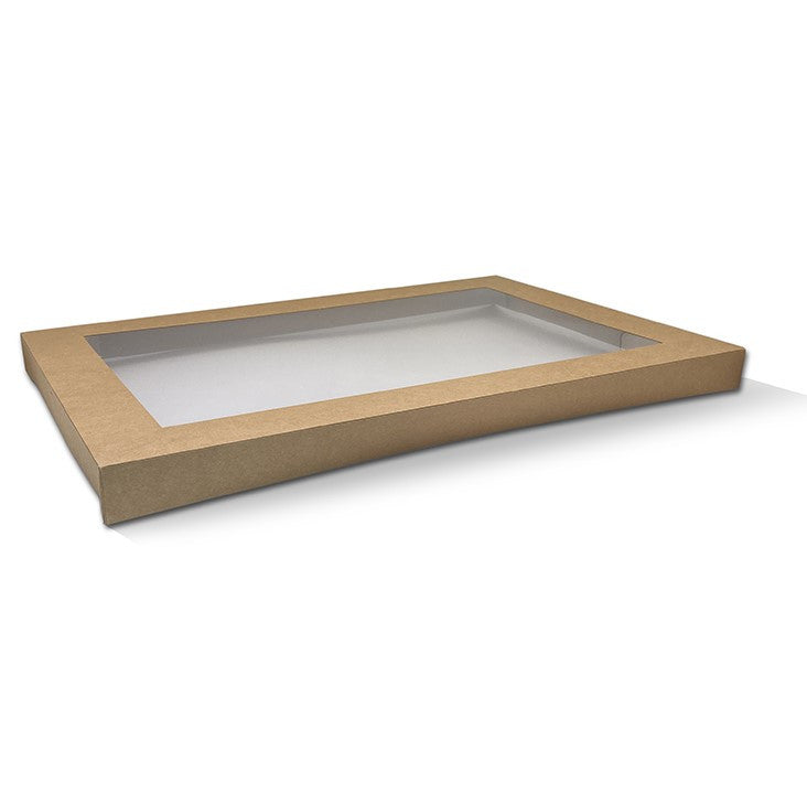 Kraft Catering Tray Lid Medium-PLA Window