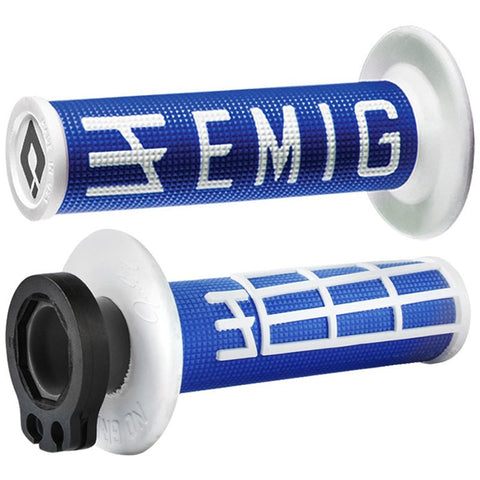 ODI V2 EMIG BLUE/WHITE 2T/4T LOCK ON GRIPS