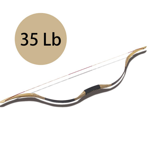 35 Lb Archery Horse Bow Recurve Bow Brown Leather Covered