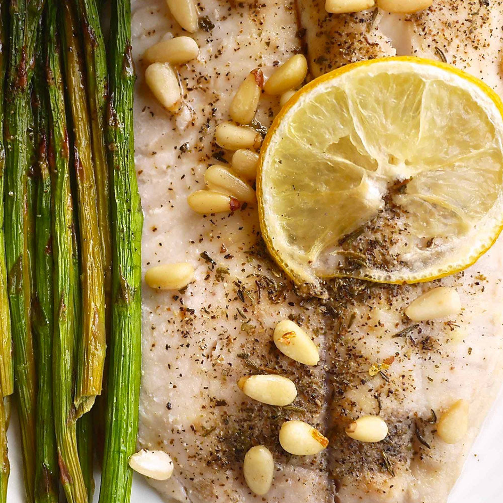 Lemon Tilapia with Brown Rice and Asparagus Meal