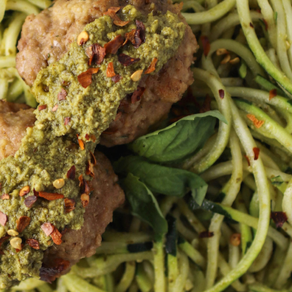 Pesto Zoodles w/ Turkey Pesto Meatballs
