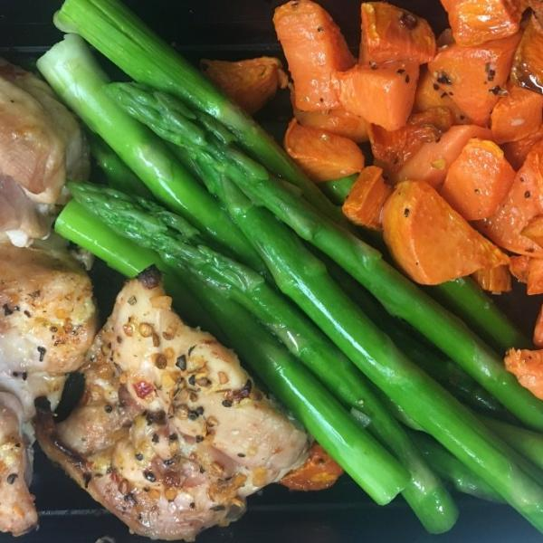Chicken Thigh w/ Sweet Potato & Asparagus Meal