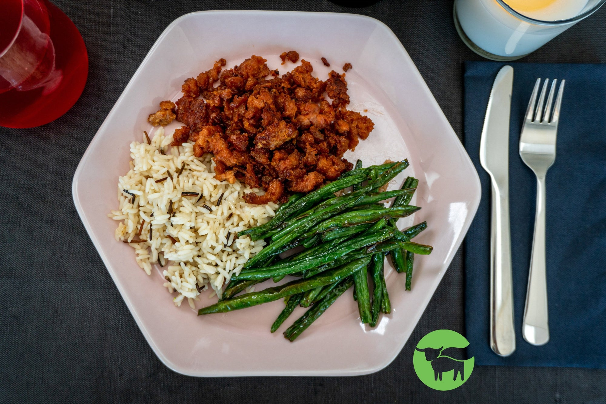 Beyond Meat Ground with Green Beans and Jasmine Rice