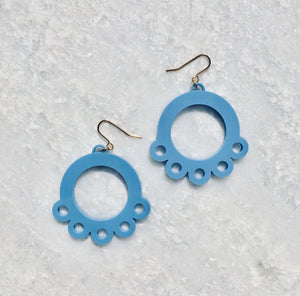 Daisy Drop Earrings in Blue - hall-wade