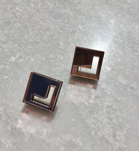 Mini Chevron Studs in Bronze Mirror - hall-wade