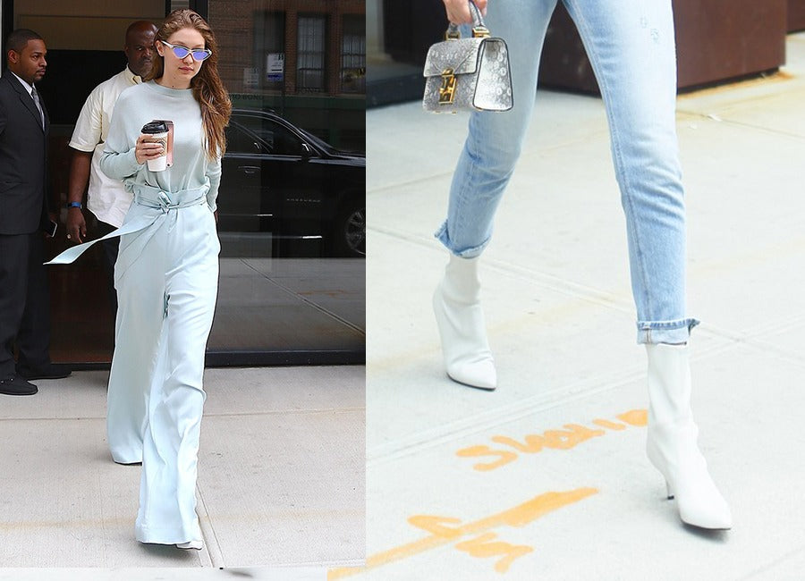 GIGI HADID STREET STYLE WITH WHITE ANKLE BOOTS