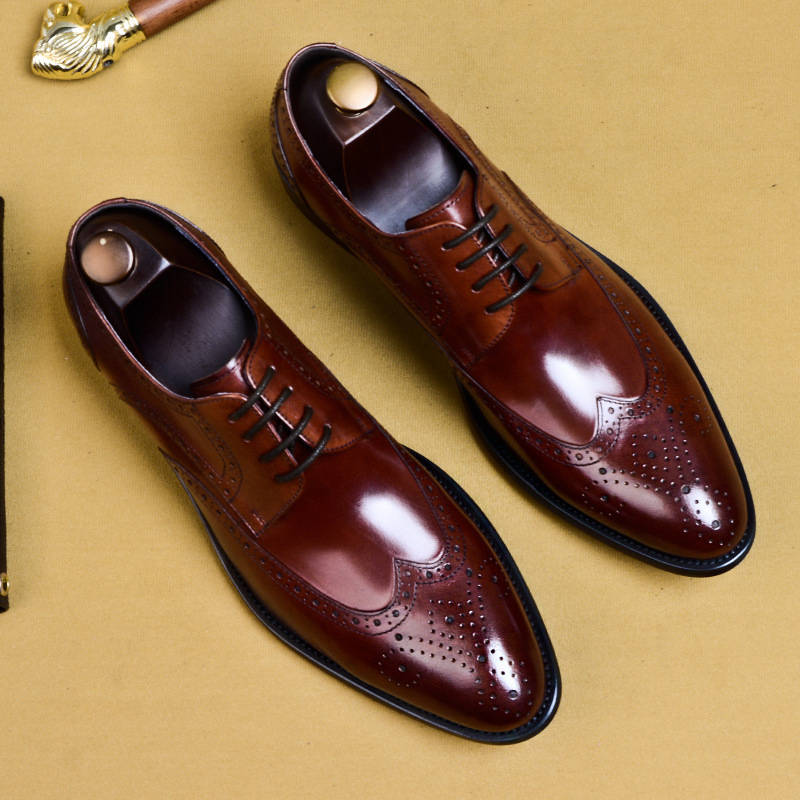 Ramisu Men Lace Up Cowhide leather Business Low Heel Brogue