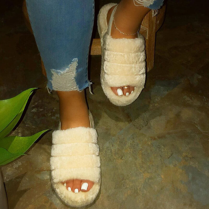 Women Large Size Casual Fluffy Fluff Flat Sandals