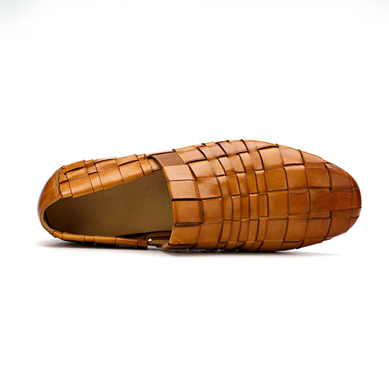 Ramisu Men Casaul Cowhide Braided Strap Loafers Shoes