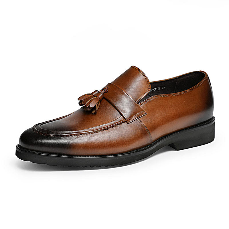 Ramisu Men Fashion Cowhide Tassel Slip-On Oxfords