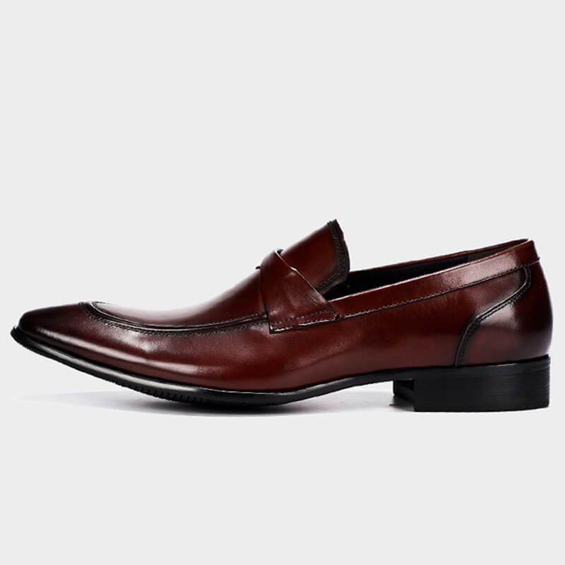 Ramisu Men Casual Genuine Leather Pointed Toe Slip On Loafers