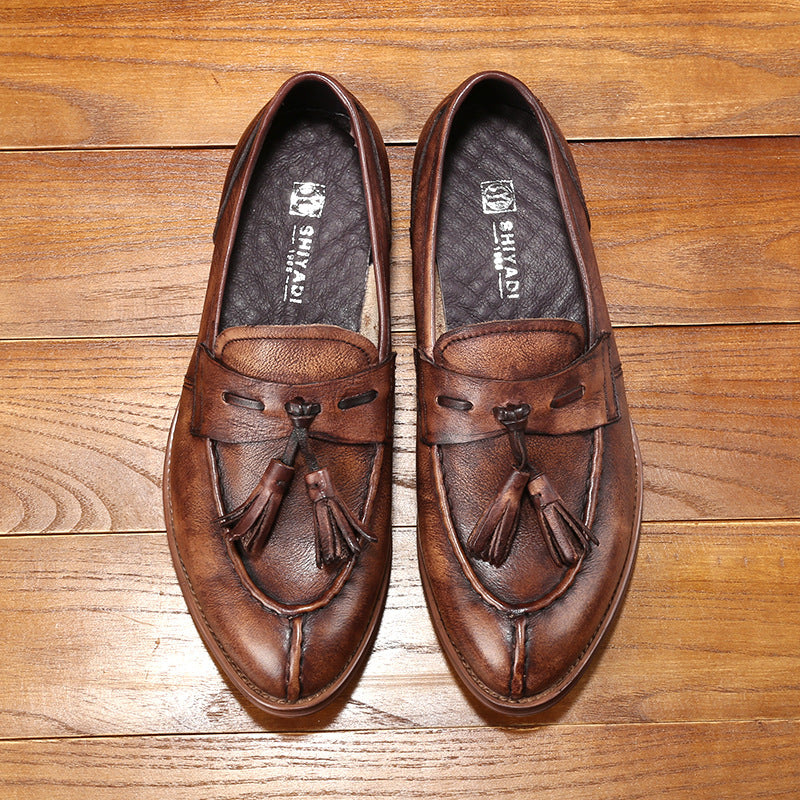 Ramisu Men Cowhide Leather Formal Slip On Shoes