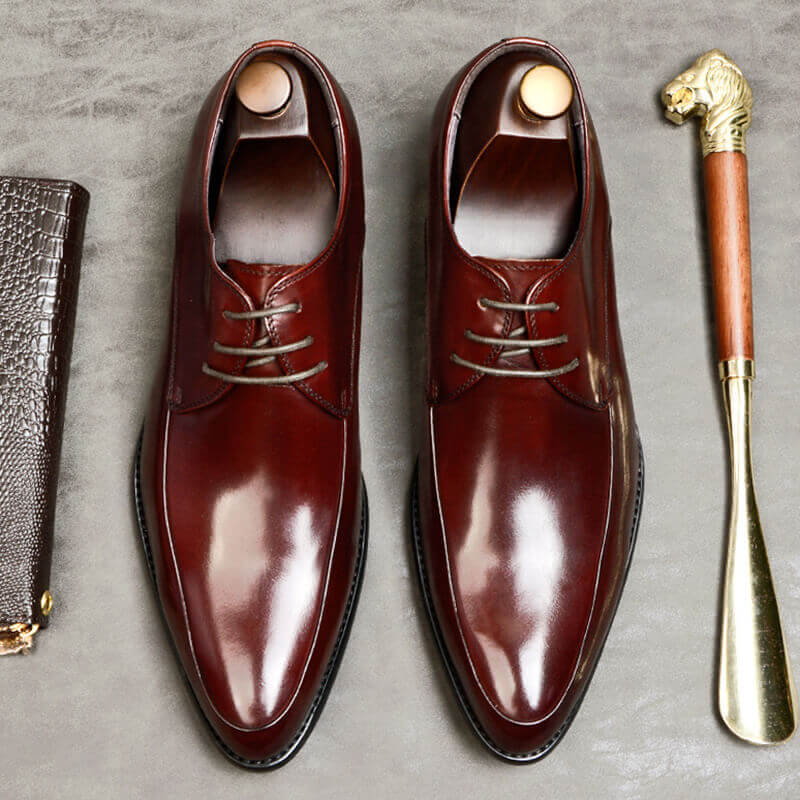 Ramisu Men Casual Cowhide leather Pointed Toe Lace up Loafers