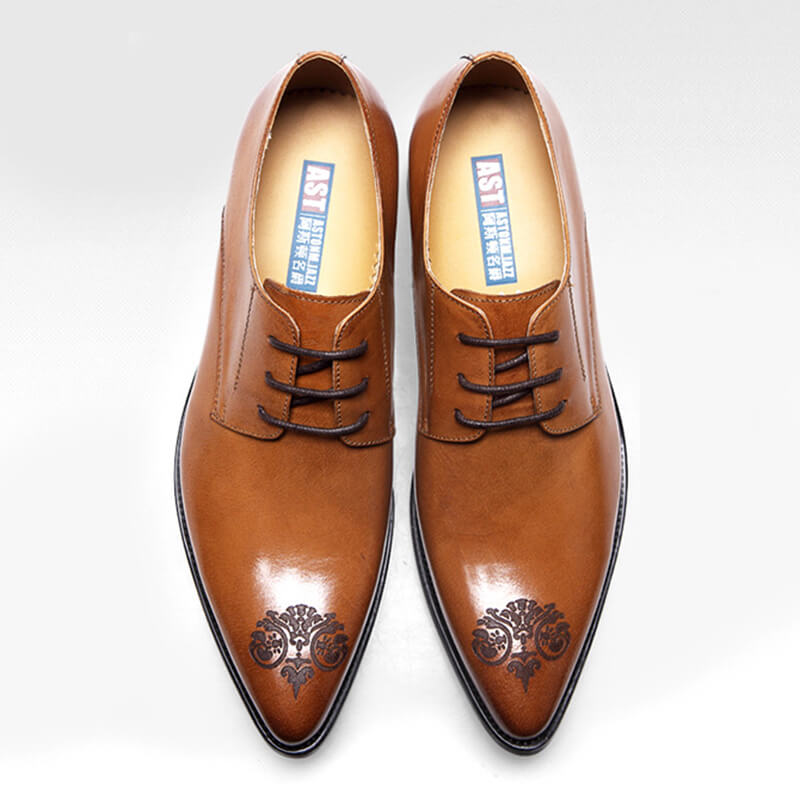 Ramisu Men Casual Cowhide Leather Brogues Pointed Toe Formal Shoes
