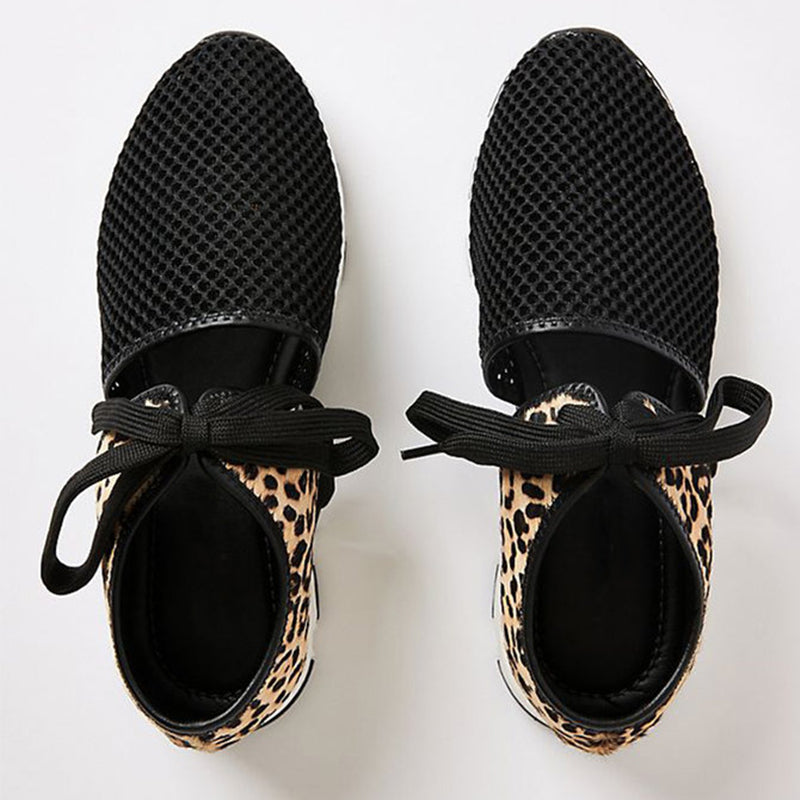 Women Fabric Mesh Lace-up Hollow-out Zebra/Leopard Sneakers