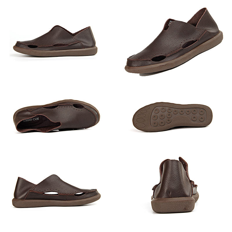 Ramisu Men Casual Cowhide Buckle Sandals
