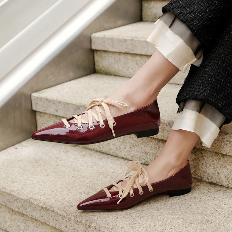 Ramisu Stylish Casual Patent Leather Lace-Up Low Heels Shoes