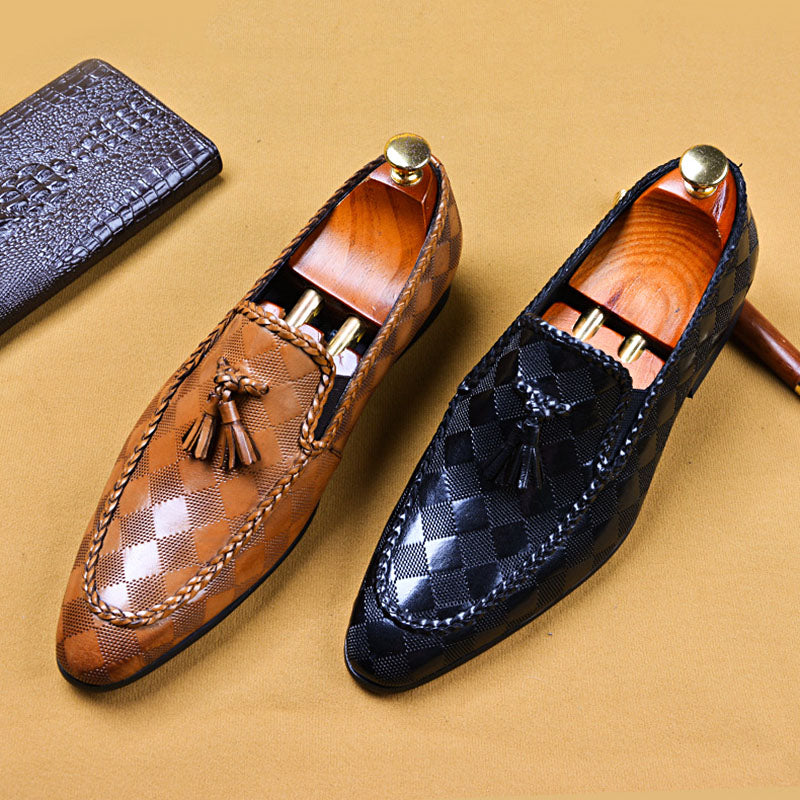 Ramisu Men Casaul Cowhide Tassel Plaid Formal Shoes