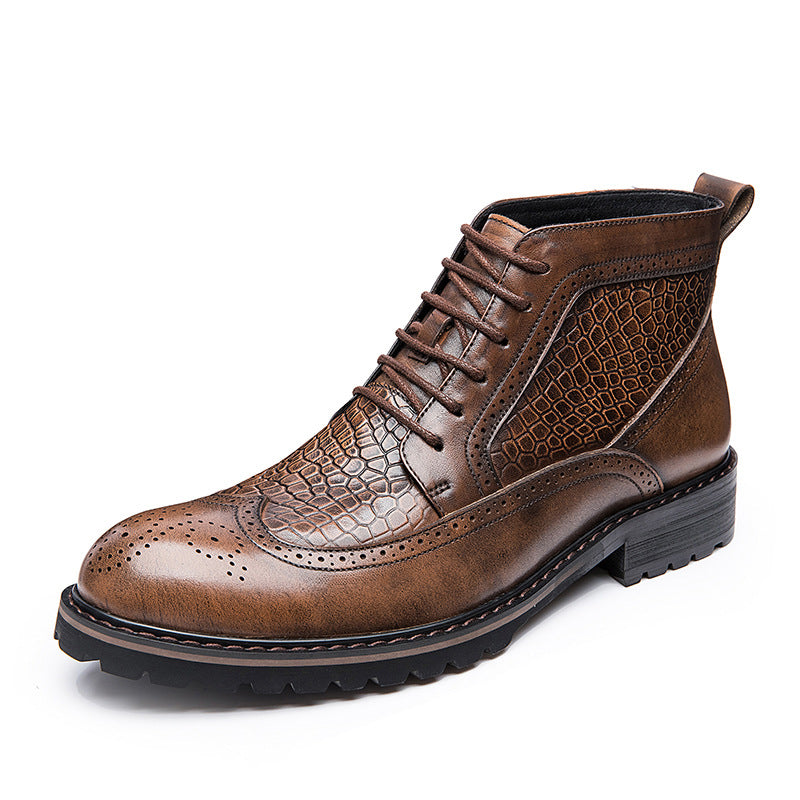 Ramisu Men Cowhide Leather Lace-Up Martin Boots
