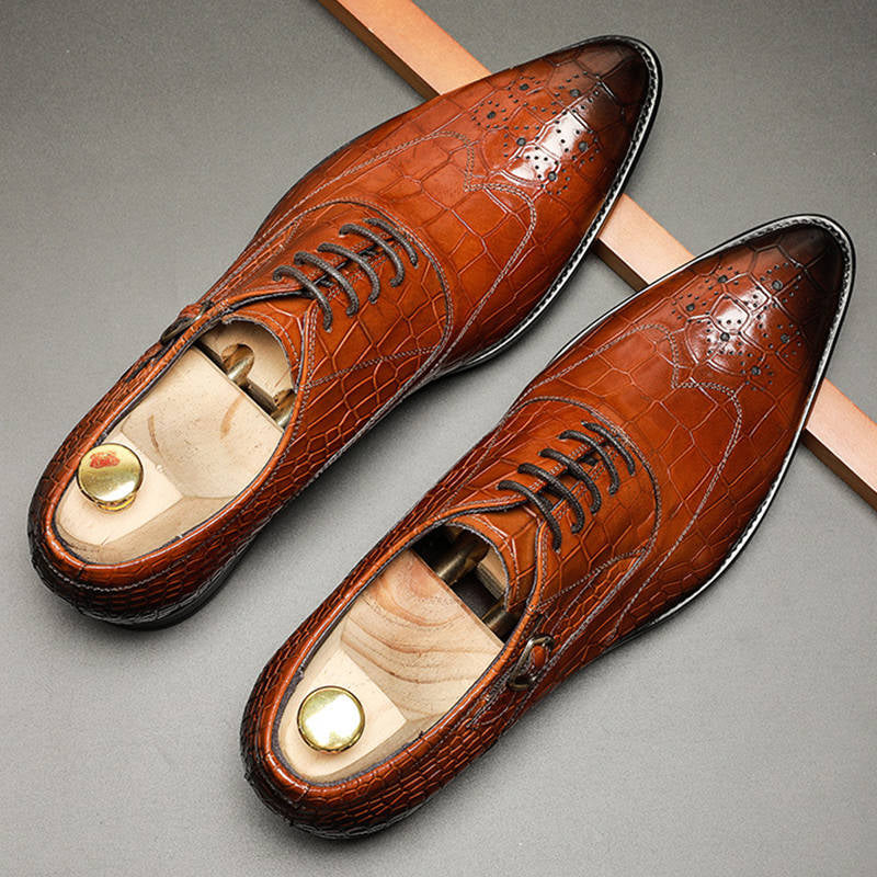 Ramisu Men Casual Cowhide Leather Pointed Toe Lace Up Formal Shoes