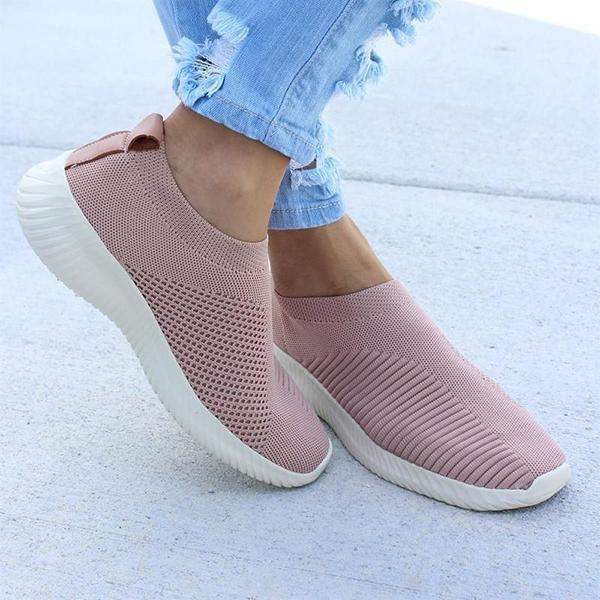 Breathable Jackeline Slip On Sneakers Fly-knit Fabric Athletic Sneakers-Ramisu