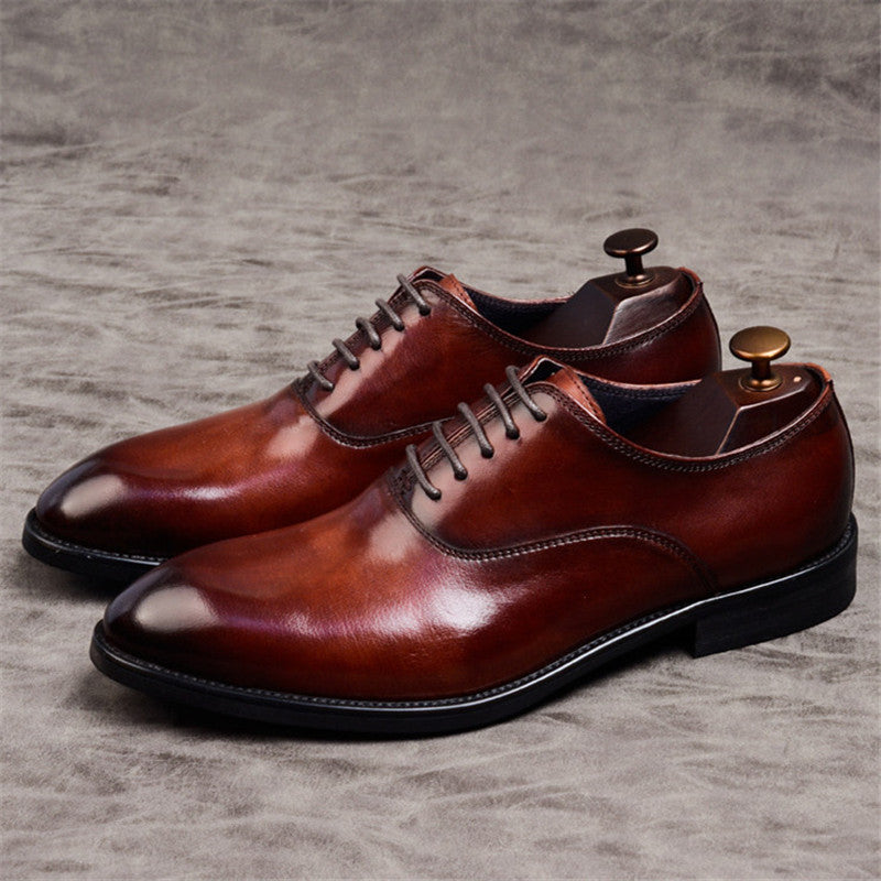 Ramisu Men Business Cowhide Leather Lace-up Formal Shoes