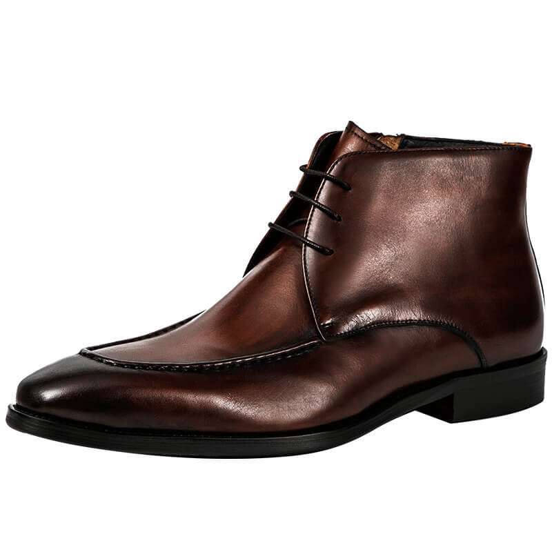 Ramisu Men Casual Genuine Leather Lace-up High Top Boots