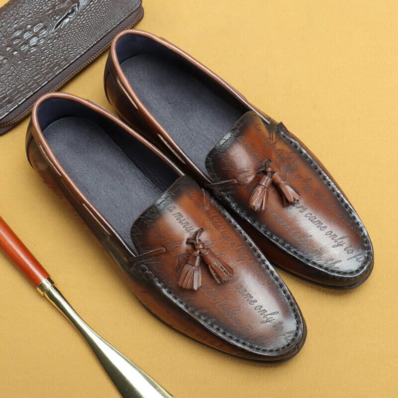 Ramisu Men Casual Cowhide Leather Round Toe Tassel Slip On Loafers