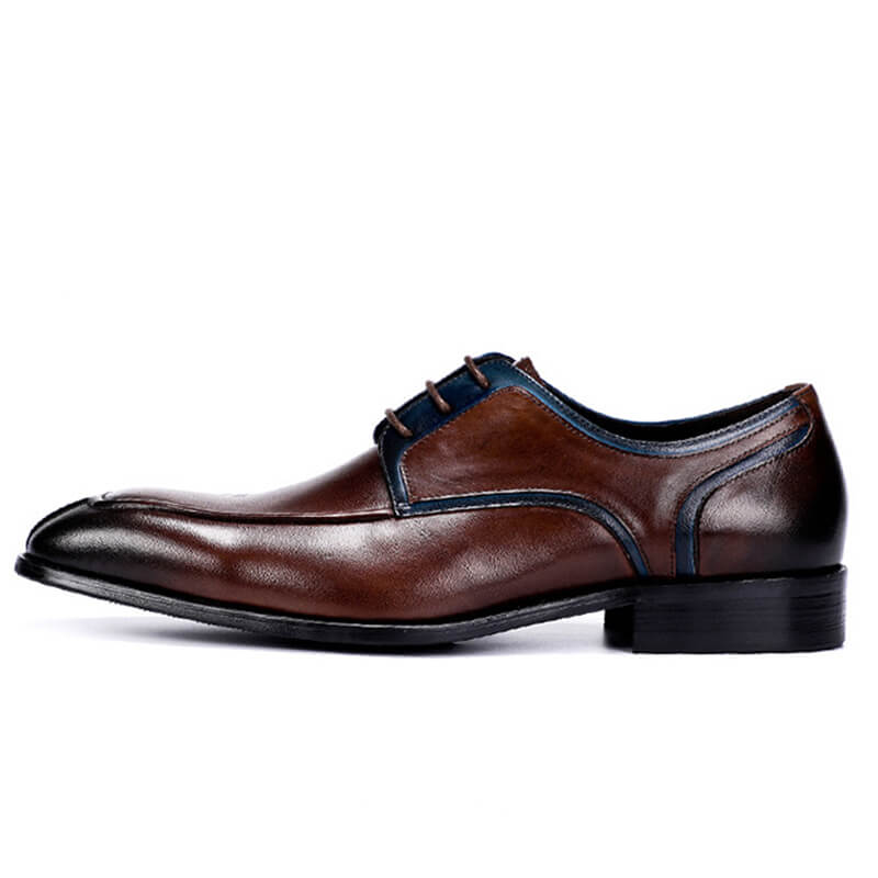 Ramisu Men Casual Genuine Leather Round Toe Lace Up Formal Shoes