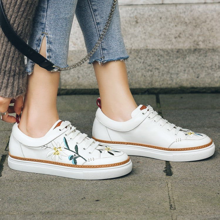 Ramisu Daily Cowhide Leather Lace-up Flower Sneakers