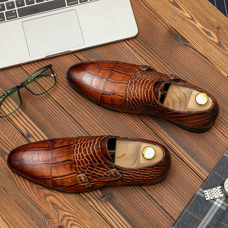 Ramisu Men Fashion Cowhide Crocodile Pattern Buckle Loafers