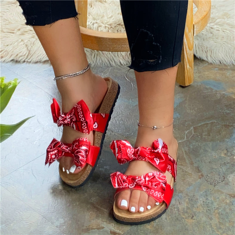 Women Plus Size Double Bow Satin Cork Slippers