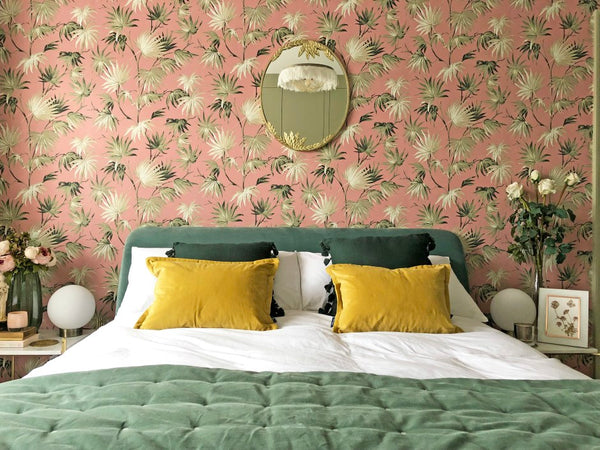 Pink & Green Bedroom Makeover with bold floral wallpaper.