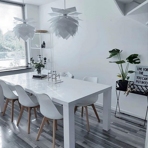 White Scandinavian Style Dining Room featuring PineApple XS Pendant Lights by Dyberg Larsen