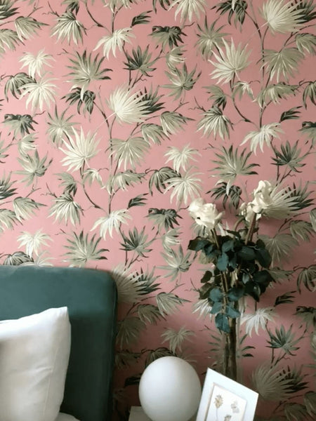 Bold Floral Wallpaper in Pink & Green.