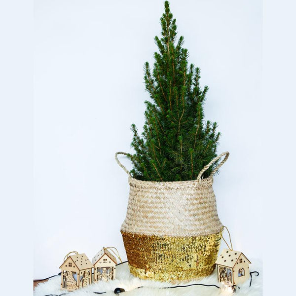 Gold Sequin Seagrass Xmas Tree Basket
