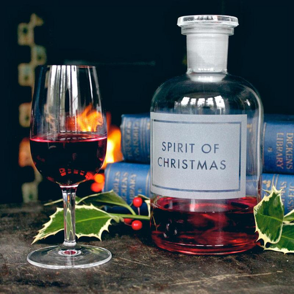Spirit of Christmas Etched Glass Bottle