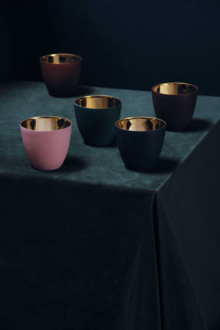 Jewel tones candle holders with a metallic lining