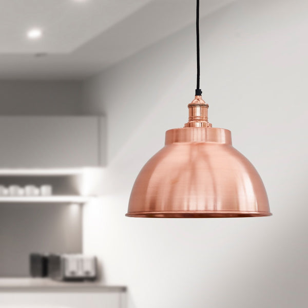 Vintage Sleek Edison Dome Pendant Light in Copper by Industville
