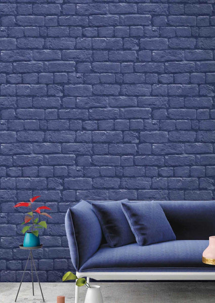 Blue Brick Effect Wallpaper by Woodchip & Magnolia