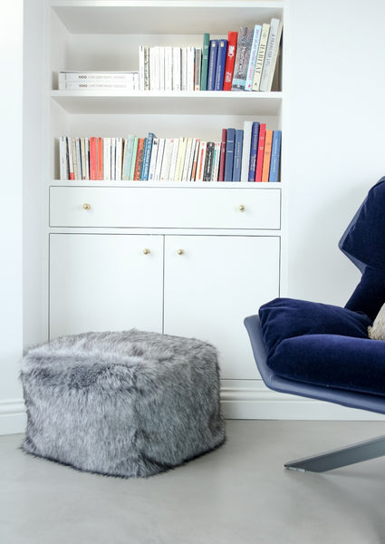 Faux Fur Cube Footstool