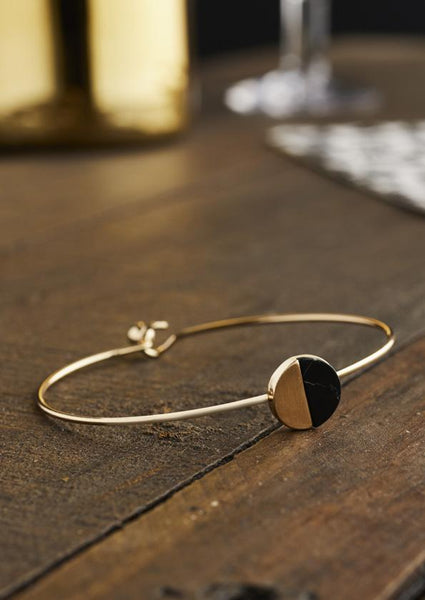 Gold & Black Howlite Bangle