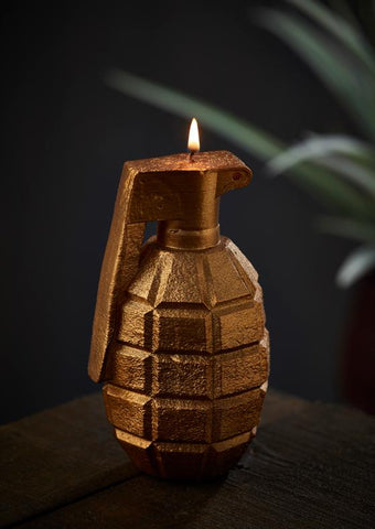 Golden hand grenade candle