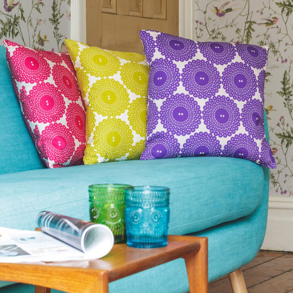 Button Print Cushion - Graduate Collection - Lime Lace Interiors